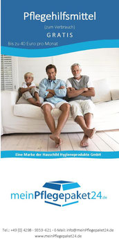 Pflegehilfsmittel - meinPflegepaket24 - Flyer Download