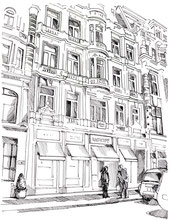 Bild: Architekturzeichnung Fassade schwarz/weiss © Caroline Ronnefeldt