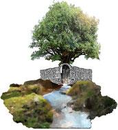 De l'eau douce de l'ile El Hiero avec son arbre fontaine et la source d'eau druidique de Bernos dans le médoc donnent une oeuvre d'art contemporain sur  un sanctuaire de source