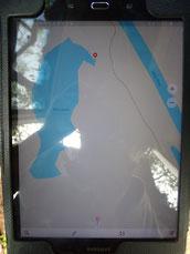 Oben beim roten Punkt ist die starke Überflutung und die Kroko begegnung. Die gestrichelte Linie zeigt die Fahrspur am Marie River