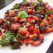 Linsen Belugalinsen Salat Tomate Basilikum Rezept Hauptspeise