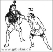 """Zeichnung aus """"Geheim überlieferte Illustrationen zum Jū-Jutsu"""" von 1894."""