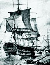 Le Breslau durant la bataille, partie d'une gravure de George Philipp Reinagle.