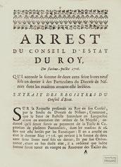 LEX.18.017 Arrest du Conseil d´Estat du Roy (Versailles, 1706) / © Sammlung PRISARD