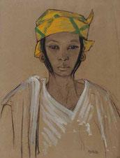 Anna Quinquaud, Portrait de jeune femme au turban jaune, gouache et fusain sur papier, collection musée des beaux-arts de Brest.