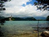 Der Veldeser See bei Bled mit der Insel