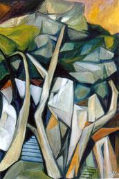 Pini nel Salento,2008,      Olio su tela,    cm.70 x 100.  ( Coll. privata )