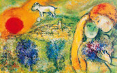 Marc Chagall, Married Couple and the Sun, 1920