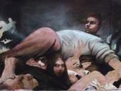 """Lukas Johannes Aigner, """"The Stagediver"""", Tuschpinselzeichnung, 70x100cm, 2003"""