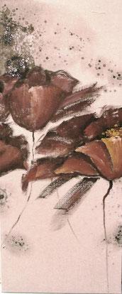 Schilderij Bloemen op stof Geschilderd