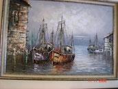 Schilderij met boten