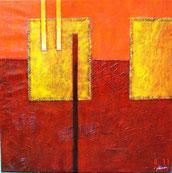Abstract Schilderij in Rood, Oranje geel