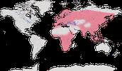 Karte zur Verbreitung der Familie der Fliegenschnäpper (Muscicapidae)