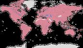 Karte zur Verbreitung der Greifvögel (Accipitriformes)