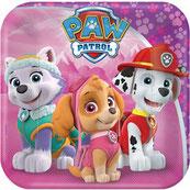 Pink Paw Patrol - Everest, Skye, Marshall auf quadratischen Pappteller