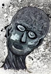 Seelenverwandte 6: Tusche und Acryl auf Papier, 29,5 x 20,5 cm, 2019