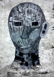 Seelenverwandte 3: Tusche und Acryl auf Papier, 29,5 x 20,5 cm, 2019