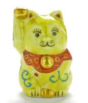 九谷焼【チビ招き猫】黄色唐草2号(金運)