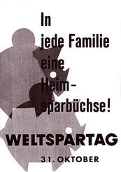Sparschweine der Sparkasse. Weltspartags-Werbung von 1961.