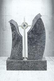 Grabstein mit schönem Edelstahl kreuz