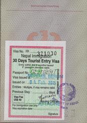 meine Eintrittskarte für Nepal