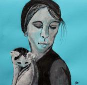 Mädchen mit Katze auf dem Arm, Tusche und Gouache auf hellblauem Briefumschlag