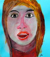 Weibliches Gesicht, Gouache, Tusche auf hellblauem Briefumschlag
