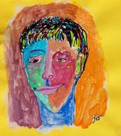 Männliches Gesicht in bunten Farben, Tusche und Farben auf gelben Briefumschlag