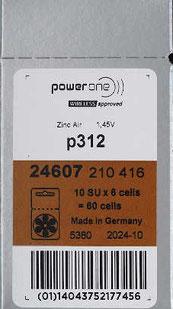 Power One Hörgerätebatterie, Schachtel à 60 Batterien