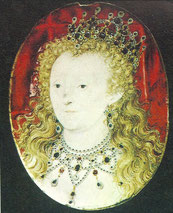 Queen Elizabeth I (from a miniature by Hilliard in the Victoria and Albert Museum)