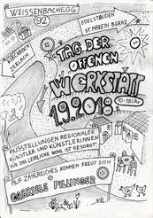 Plakat zum Tag der offenen Werkstatt am 1.9. in der Knopfwerkstatt