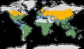 Karte zur Verbreitung der Gattung Ardea
