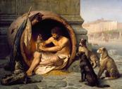 """JEAN-LEON GEROME - """"Diogene di Sinope, con Botte, Lanterna e Cani"""""""