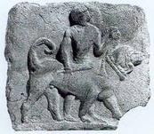 (Iraq) - Terracotta di Nineveh, che ritrae un mastino tenuta con una grossa corda