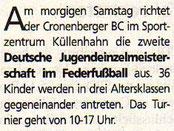 Cronenberger Woche Vorbericht vom 02.10.2004