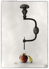 machine tool apple hole worm conceptual still-life surrealism creation