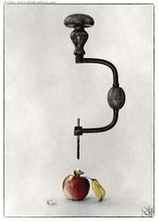 machine tool apple hole worm conceptual still-life surrealism creation