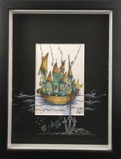 Hausboot, Anker, bunt, gerahmt, Aquarell, handgemalt von Künstlerin JULIA! Neulinger -Kahl