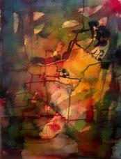 Lichtdurchflutetes Bild, abstrakt, modern, live zu Musik entstanden. Rot, grün, gelb. Aquarelleffekt, da mit Tinten gemalt.