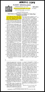 1937  GB  Patent