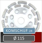 prodito slijpschijf om af te bramen of komschijf voor gebruik met een haakse slijper diameter 115 universeel steen beton en chape
