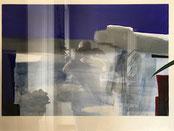 "Eva Hradil ""Blau1"" 1993, Acryl auf Papier, 70 x 100 cm"