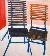 """Eva Hradil """"Das Geschwisterpaar"""" 1997, Pigmente und Acrylbinder auf LW, 90 x 80 cm, im Besitz Kulturabteilung Stadt Wien"""