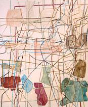 """Eva Hradil """"O.T."""" 2014, Eitempera auf Halbkreidegrund/LW 130 x 110 cm"""