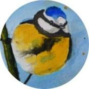 Inspiration - Blaumeise in Tusche malen - DIY