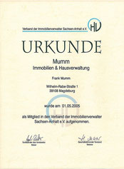 Urkunde des Verbands der Immobilienverwalter