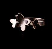 Bague papillons pour femme faite à la main en France et argent 925 et zirconium