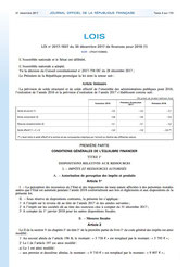 Loi 2017-1837 de finances 2018