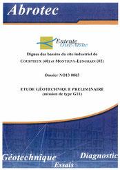Etude géotechnique préliminaire, digues des bassins de... 2013