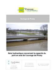 Note hydraulique concernant la capacité du pont en aval de l'ouvrage de Proisy, 2010